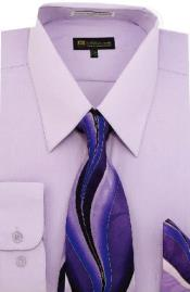 Moda Classic Cotton and Handkerchiefs Lilac Mens Dress Shirt