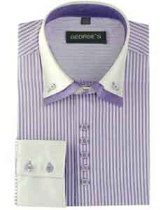Long Sleeve Lilac Dress Shirt White Collar Two Toned Contrast Two Tone Striped Standard Cuff White Collared