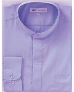 Band Collarless Dress Shirts Lillac