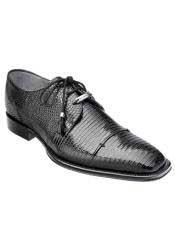 Black Full Lizard Skin Exotic Shoes