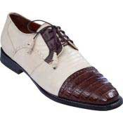 & Gator Tip Dress Shoe Bone With Brown