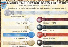 "Genuine Lizard Teju Western Cowboy Belt 15"" Width Diff Colors/Sizes"