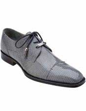 Mens Classic Gray Teju Exotic Lizard Skin Leather Shoes