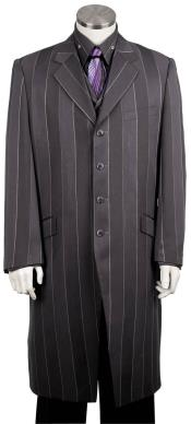 Mens Pinstripe Stylish 3pc Long Zoot Suit Black