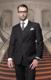 Mens Big And Tall Or Extra Long Tall Vested Three piece 100% Wool Italian Dress Suit Black