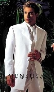 "coat 4 Button White Notch Tuxedo -38"" 4 Button \""Long Coat"