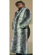 White & Black Long Length Faux Fur Coat
