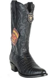 Los Altos Round Toe Genuine Caiman Belly Black Boots