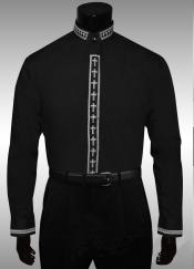 Clergy Collar Cross Placket Dress shirts Mandarin Collarless Preacher Round Style Black