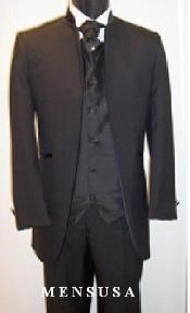 Button Collar Less No Button Mandarin Tuxedo Suit