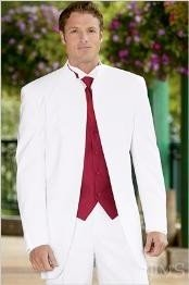 Button Banded Collar Mandarin Tuxedo Jacket Suit + matching White Pants