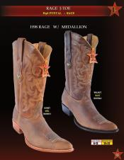 Los Altos Mens H98 Rage Leather w/ Medallion Cowboy Western Boots Diff Colors