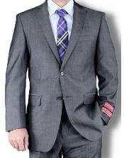 Mantoni Solid Single Breasted Jacket Suit Medium Gray