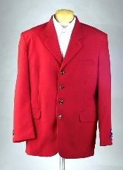MUZDA Excluive 3or4 Button Mens Dress Blazer with Metal Buttons in Red Colors