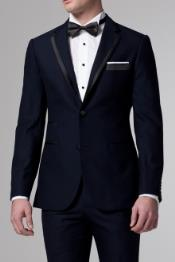 Midnight Navy Blue Tuxedo With trim With Black or Blue Trim Flat Front Pants
