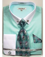 Solid Pattern French Cuff 100% Cotton Mint Fashion Shirt with Tie