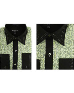 and Black solid Accents Microfiber Design Geometric Regular Fit Mens Dress Shirt