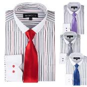 Striped Dress Shirt With Solid Tie And Slim Collar Style White Collar Two Toned Contrast Multi-Color