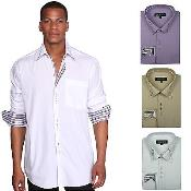 Stylish Unique 3 Square Button Dress Shirt 6 Colors Style Multi-Color