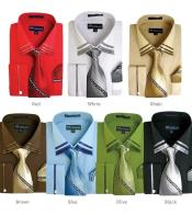 Solid Spread Collar Dress Shirt Set French Cuff Classic Fit Multi-color