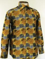 Fabric Fancy Polyester Shirt With Button Cuff Mustard For Mens