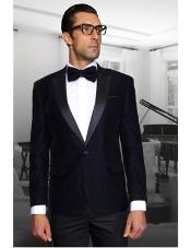 Men Navy 1 Button Velvet Fabric Discounted on Sale