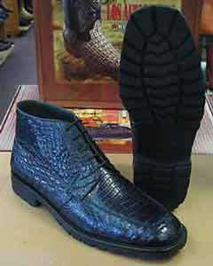 Mens Short Boots Genuine All Crocodile Caiman Navy Blue Men Ankle Boot