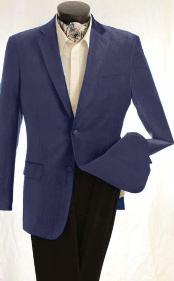 Mens Fashion 2 Button Velvet Jacket Navy Blue