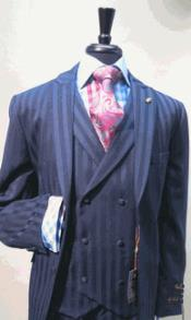 Satin Stripe ~ Pinstripe Fabric Dark Navy Blue Suit