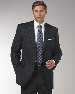 Dark Navy Blue Stripe ~ Pinstripe Peak Lapel affordable suit online