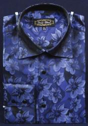 Blue thick mandarin band Fancy Polyester Shirt