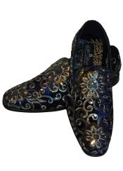 Mens Gold Silver Embroidered Slip On Style Fancy Velvet