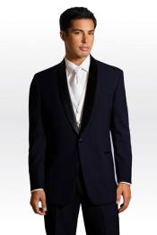 Suit Black Lapeled Midnight Navy Blue Tuxedo with Matching Pants