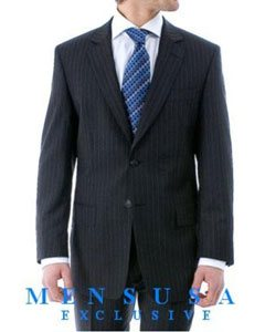 ZB22 Luxurious High Quality Navy Blue Pinstripe Light Weight Double Vented