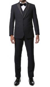 3 Piece Midnight  Navy Blue Peak Lapel Super Slim Tuxedo Vested