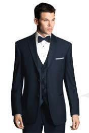 Navy Blue Wedding Tuxedo with Satin Framed Lapel