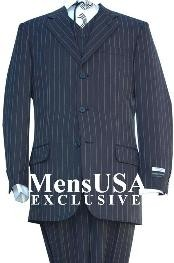 Quality Jet Liquid Dark Navy Blue Suit For Men & Chalk Bold White Pinstripe Vested Mens Dress
