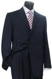Buttons Style Mens Dark Navy Blue Suit For Men Pinstripe Light