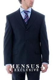 & Classy Stunning Navy Blue 3 Pieces Vested Mens Suits in