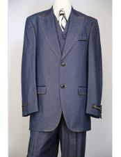 Mens navy blue brass & faux leather accents denim 3pc zoot