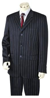 Mens Reflective Razor Stripe Notch Lapel Flap Pocket Navy Blue Zoot Suit