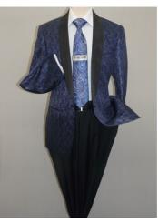 Mens Insomnia Sport Coat Jacket Blazer Shiny Paisley Performer Formal Stage Navy