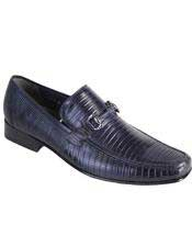 Mens Casual Slip On Loafer Navy Genuine Lizard Los Altos Shoes