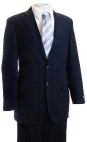 Mens Dark Navy Tone/Tone Pinstripe Designer affordable Cheap Priced Business Suits Clearance