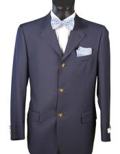Mens Single breasted Navy Blazer 100% Wool 3 Button Classic Fit Blazer