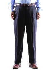 Size & Big and Tall 100% Wool Navy Dress Pants