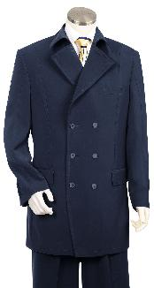 Triple Breasted 6 Button Double Breasted Fashion Suit Dark Navy Pleated
