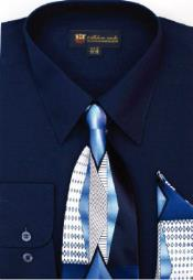 Moda Classic Cotton Ties and Handkerchiefs Navy Mens Dress Shirt
