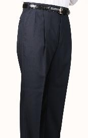 Worsted Wool Navy Somerset Double-Pleated Slacks / Dress Pants Trouser Harwick