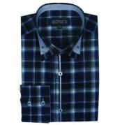 Navy Long Sleeve Plaids And Checks Pattern Mens Dress Shirt